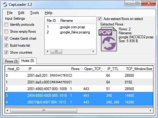 CapLoader 1.2, Hosts tab