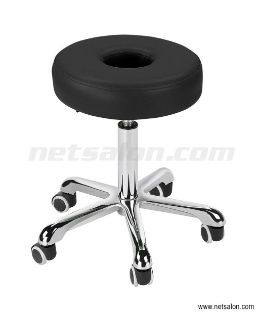 Round Black Salon Doughnut Stool