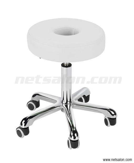 Round White Salon Doughnut Stool