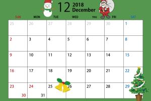 2018年12月のカレンダー