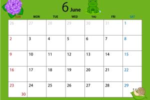 2019年6月のカレンダー