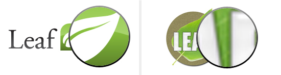 """Both leaf logos magnified 500%, notice how the """"Good Logo"""" (left) is still crisp while the """"Bad Logo"""" (right) has become """"pixellated"""" or grainy"""