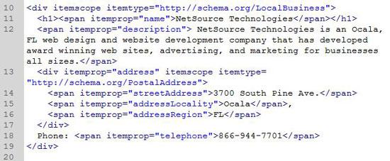 MicroData Markup example