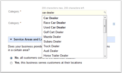 Selecting a category within Google Places.