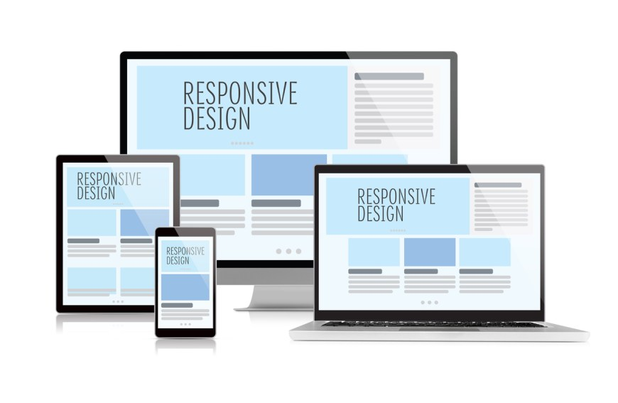 Responsive design on devices isolated on white