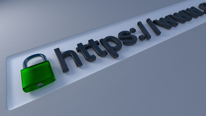 The Internet: A secure https browser link closeup with padlock