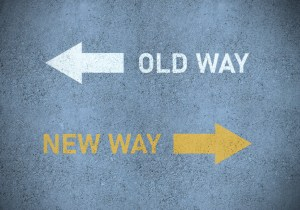 Old way arrow pointing left and new way arrow pointing right