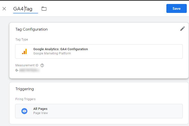 Configuring GA4 Tag