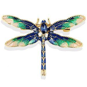 Gleamart émail Libellule Broche Insectes Animaux Libellule Broches pour Femmes Bleu avec Vert