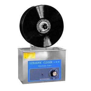 Nettoyeur à ultrasons Disque vinyle LP, Nettoyage de 1-6 disques vinyle, nettoyage en profondeur, 4L, fonction de synchronisation numérique, avec support électrique