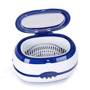 Lxf-xgNettoyeur à Ultrasons Professionnel Nettoyeur à Ultrasons 600ml Cuve en Acier Inoxydable Nettoyage Doux et Approfondi pour Bijoux Lunettes Montre Dentier CDs/DVDs,Bleu