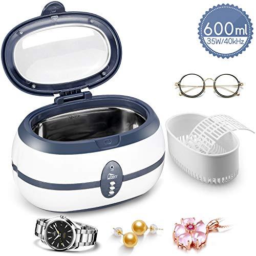 ZOGIN Nettoyeur à ultrasons avec panier de nettoyage, support d'horloge, réservoir en acier inoxydable et minuterie numérique pour bijoux, dentiers, lunettes, montres et monnaies métalliques 600ml