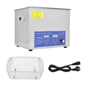 Nettoyeur à ultrasons 10L,Nettoyeur à ultrasons numérique Machine à laver ultrasonique,Machine de nettoyage par ultrasons à température réglable Nettoyeur à bijoux à ultrasons(EU)