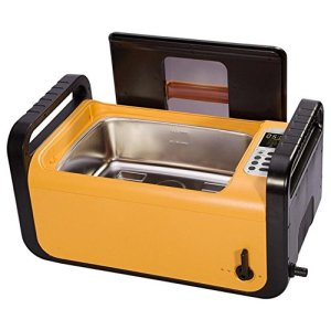 QINGXI Commercial Nettoyeur à Ultrasons, 2Gal / 7.5L, 410W, Orange/Noir Couleur, Inoxydable Acier Nettoyage Machine Suspendable Plastique Panier
