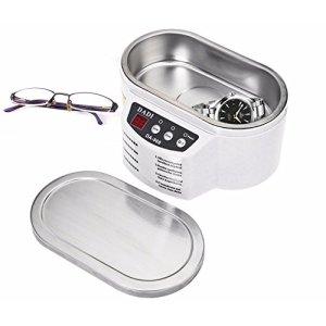 LanLan 600ML exquis en acier inoxydable à ultrasons nettoyeur numérique à ultrasons vague unité de lavage pour bijoux verres (avec couvercle en acier)