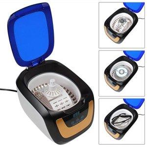 Nettoyeur à Ultrasons 600ML Sonique Vague Inoxydable Acier Réservoir avec UV Lumière Bijoux & Monocle Nettoyeur (Blanc / Gris)