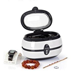 Nettoyeur à ultrasons, bijoux, Aspirateur machine 40kHz avec panier de nettoyage pour lunettes montres Collier Anneaux dentier Gris Medium