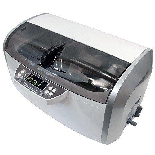 QINGXI 310W 6 litres Chauffé Nettoyeur à Ultrasons, Plastique Panier, 30 Minutes Minuteur, Drainer, 2 Transducteurs, 2 Radiateurs (Gris)