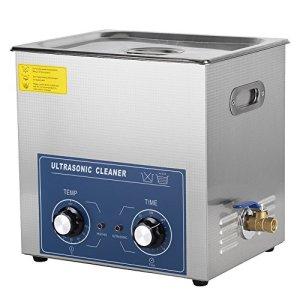 Nettoyeur à ultrasons en acier inoxydable avec chauffage numérique, minuteur numérique et réservoir à ultrasons avec panier pour nettoyage de lunettes 220 V, 14L, 1