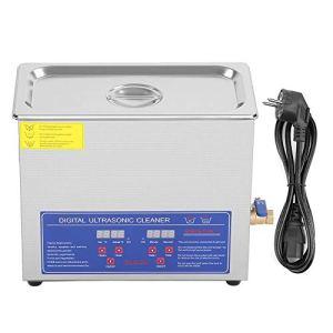 Ejoyous Nettoyeur à ultrasons, adapté au Nettoyage des Lunettes de Montre, etc, Machine de Nettoyage à ultrasons numérique en Acier Inoxydable 6L Prise européenne 220V