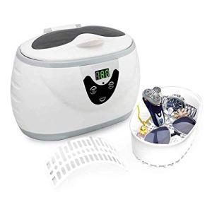 XXND Nettoyeur à ultrasons Professionnel, minuterie numérique 600ML Instruments Propres 35W for Les Bijoux Montre Lunettes dentier Watchband 1118 (Color : White)