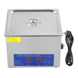 Ejoyous Nettoyeur à ultrasons, Nettoyeur à ultrasons en Acier Inoxydable numérique 15L, minuterie de réservoir de Chauffage de Bain Haute Puissance, Prise UE 220V