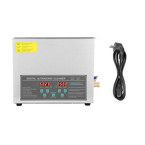 lyrlody- Nettoyeur à ultrasons à double fréquence en acier inoxydable – 10 l – Avec température constante numérique – Pour les verres, les bijoux, les fauxs, etc.