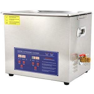 Nettoyeur à Ultrasons 10L Laveuse à Ultrasons Numérique Machine Professionnelle Minuterie de Chauffage D'acier Inoxydable PS-40A(EU Plug 220V)