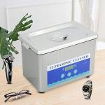 Cerlingwee Machine de Nettoyage, minuterie de Nettoyeur à ultrasons en Acier Inoxydable 800 ML en Acier Inoxydable pour Bijouterie