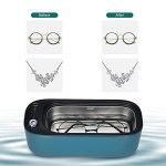 Voupuoda Nettoyeur à ultrasons Compact 40kHz 400ML Machine de nettoyage pour bijoux à ultrasons avec mode de lumière UV et 3 cycles de nettoyage à faible bruit pour les lunettes Bague de montre