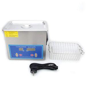 Nettoyeur à ultrasons de bijouterie, nettoyeur à ultrasons 4,5 L, acier inoxydable, minuterie numérique, machine de nettoyage de laboratoire de chauffage 240 HTD (prise UE)