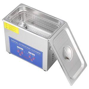 Nettoyeur à ultrasons, écran numérique avec minuteur numérique pour bijoux, montres, montre, ultrasons, salle de bain, appareils en acier inoxydable (2L)