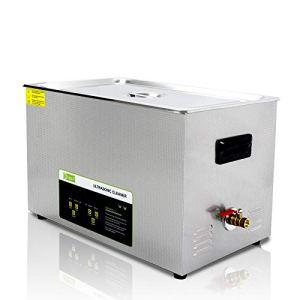 Nettoyeur à ultrasons professionnel à fonctionnement numérique 30L,avec panier et minuterie, pour le nettoyage Appareil de tatouage, Carburateur, Lunettes, Bijoux, Dentiers, Légumes, Des fruits, etc.