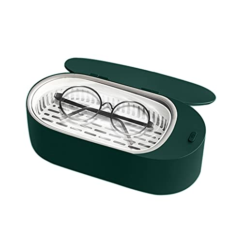 Flytise Mini nettoyeur de bijoux à ultrasons 400 ml hine de nettoyage à ultrasons professionnelle portable pour lunettes prothèses montres rasoirs boucles d'oreilles colliers anneaux outils petits