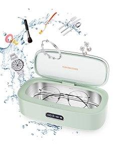 KUTAO Nettoyeur à Ultrasons, 300ml 45000Hz Nettoyeur sonique, Portable Nettoyeur de bijoux avec 4 modes de nettoyage, pour prothèses dentaires/Collier/BAGUES/Regarder/Vaisselle/Pièces de monnaie