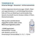 Tickopur R33 Liquide à ultrasons pour buses d'aérographe, bijoux, carburateur et bien plus encore 2 l   Nettoyant concentré avec dosage de 3 à 5 %, nettoyant à ultrasons pour aluminium