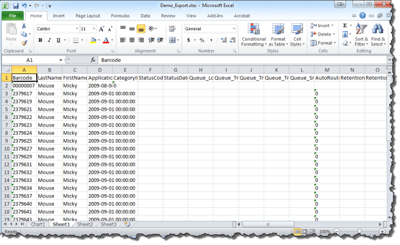 Exported to Excel
