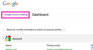Go back to Google Account Settings page