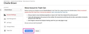 Read, Confirm, and Trash Account in Google Analytics
