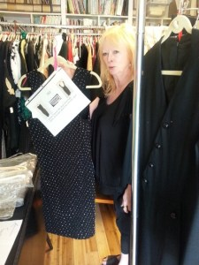 Louise with accession information attached to garment