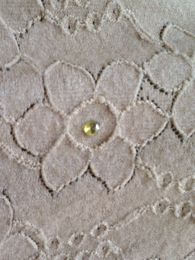 Fabric flower motif with crystal embellishment