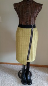 Pea Green Quilted Skirt