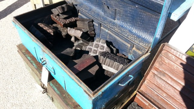 A trunk full of textile blocks