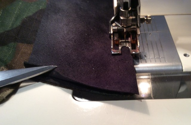 Topstitching ultra suede collar on collar ends and outer edge with walking foot