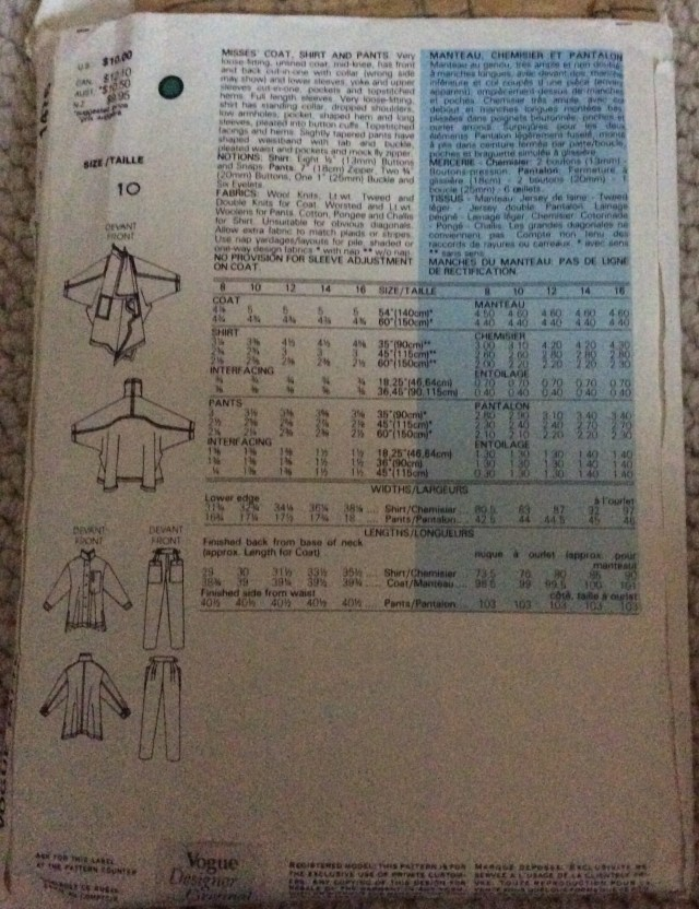 Vogue Pattern 1476 Envelope back