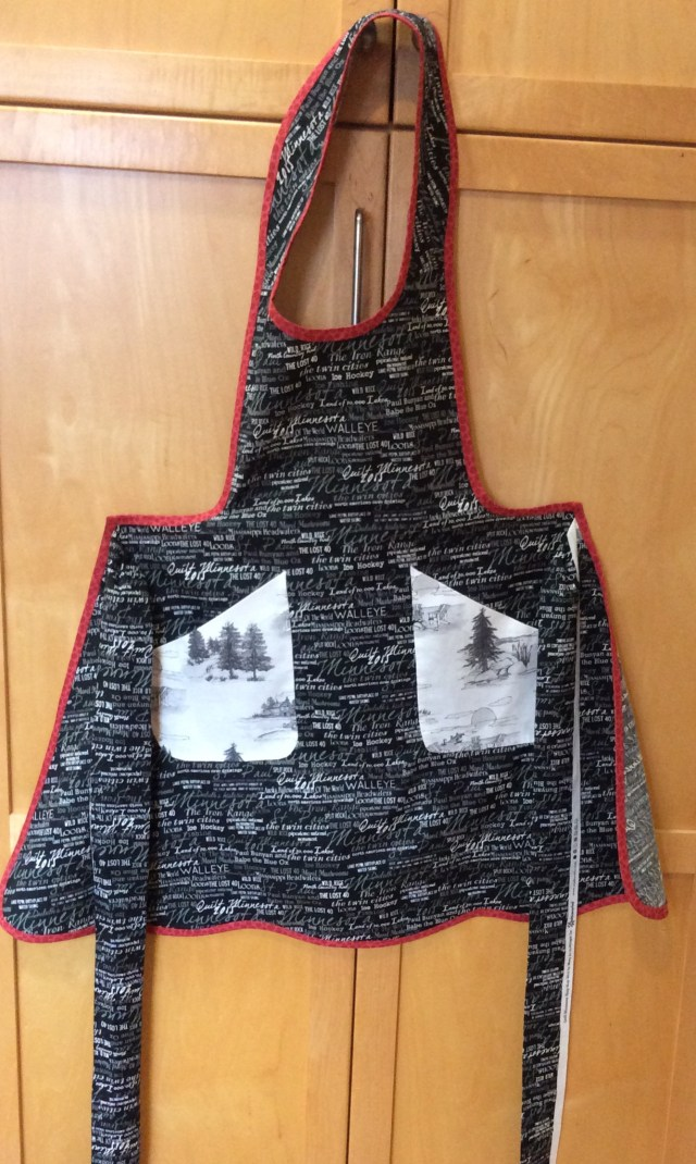 Apron finished with bias binding