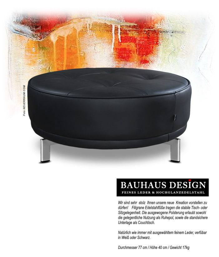 leather coffee table leather ottoman leather pouffee round leather table leather black or white