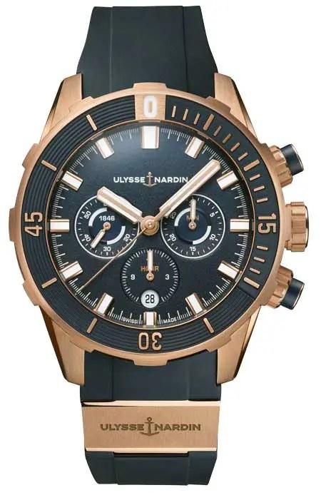 Diver Chronograph 44mm, Blau & Roségold
