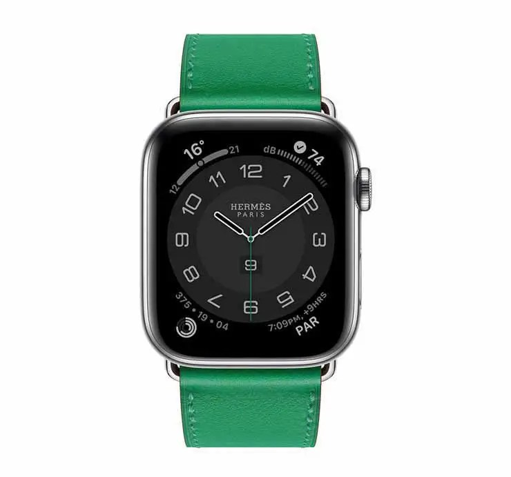 Apple Watch Hermes Series 6 44mm Bambou Swift Calfskin Simple Tour Strap. (2)