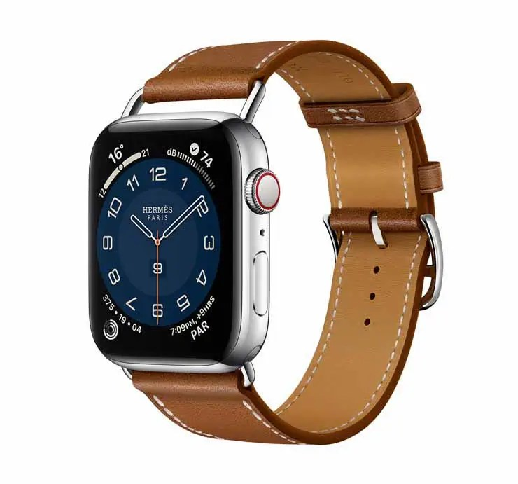Apple Watch Hermes Series 6 44mm Fauve Barenia Calfskin Simple Tour Attelage Strap 2.